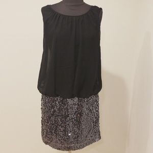 Adrianna Papell Black Sequined Bottom Dress
